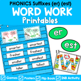 Phonics Worksheets, Games, and Center | suffixes -er, -est