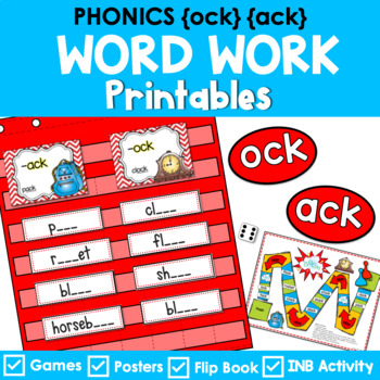 Phonics Literacy Center & Interactive Notebook (Word Famil