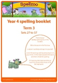 Spelling practice booklet Year 4 Term 3 Spellzoo