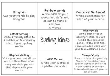 Spelling practice ideas and choices grid Daily 5 Word Work
