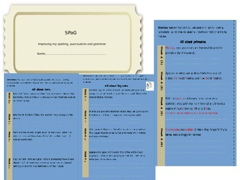 Spelling, punctuation and grammar booklet SPaG