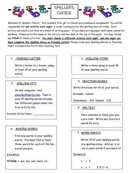 Spelling's Choice Spelling Homework