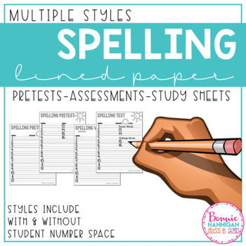 Spelling sheets for Pretest, Study and Tests