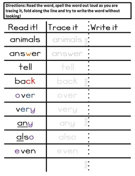 Sight Words spelling intevention The bundle: 1-300 sight words