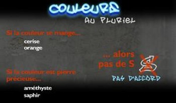 "French spelling  in songs. ""Le rap des couleurs"" (The plural of colors)"