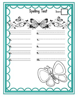 Spelling template Butterfly theme