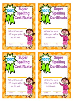 Spelling test mini award certificates