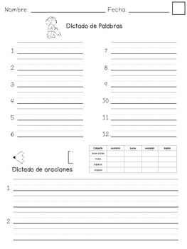 Spelling test pages (English and Spanish)