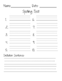Spelling test w/ dictation template