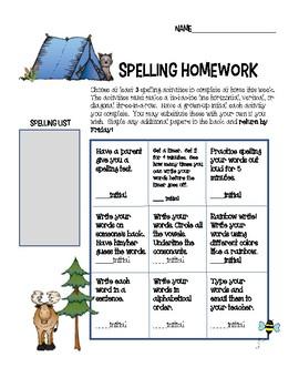Spelling tic tac toe homework