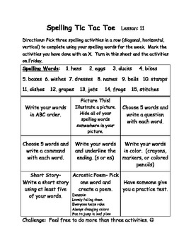 Spelling tic tac toe homework Journeys second 2nd grade unit 3