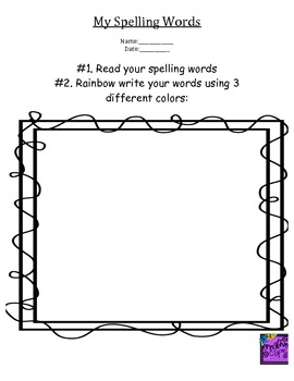 Spelling used in Word Work Centers