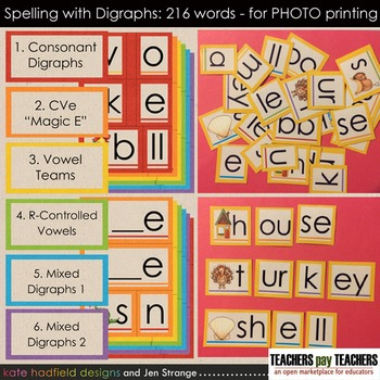 Spelling with Digraphs - 216 words with Movable Alphabets