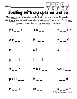 Spelling with Digraphs oa and ow