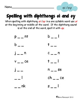 Spelling with Diphthong oi/oy