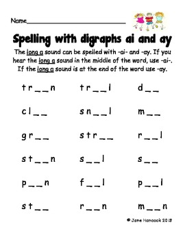 spelling with vowel digraphs ai and ay by jane hancock tpt. Black Bedroom Furniture Sets. Home Design Ideas