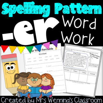 Spelling with -er, A week of Lesson Plans, Activities, and Word Work!
