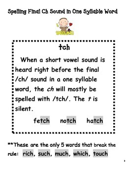 Spelling with final ch and tch!