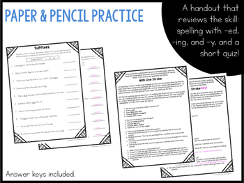 Spelling with suffixes -ed, -ing, -y - a mentor sentence grammar lesson