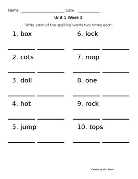 Spelling words - 2 times each practice Benchmark Advance 1st grade units 1-3