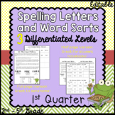 Differentiated Spelling words and Letters for Parents - 1st Quarter
