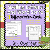 Differentiated Spelling words and Letters for Parents - 3rd Quarter