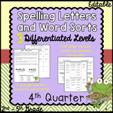 Differentiated Spelling words and Letters for Parents - 4th Quarter