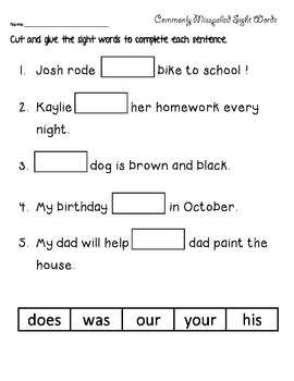 Spelling words word seach and sentences (2)- using highly miss-spelled words