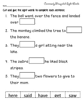 Spelling words word seach and sentences- using highly miss