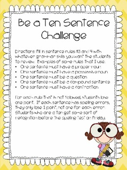 Spelling/Grammar......Be a Ten Sentence Challenge