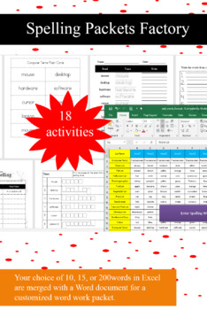 SpellingPackets Factory- Customizable spelling packets made easy-3 versions!