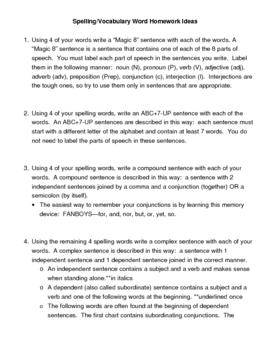 Spelling/Vocabulary Homework Ideas