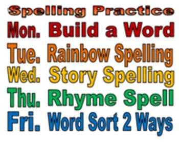 Spelling/Vocabulary Sign