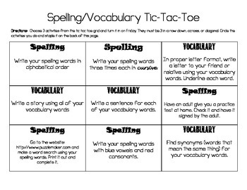 Spelling/Vocabulary Tic Tac Toe