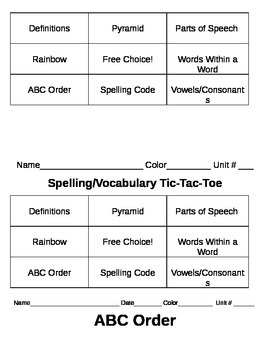 Spelling/Vocabulary Tic-Tac-Toe Game