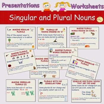 Singular to Plural Nouns Spellings, Presentations, Worksheets, Cut/Paste
