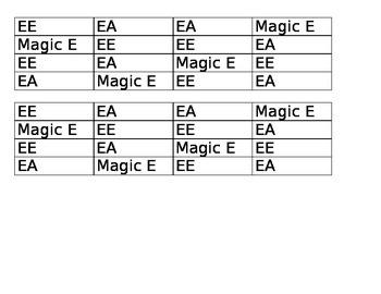 Spellings of E Game Board