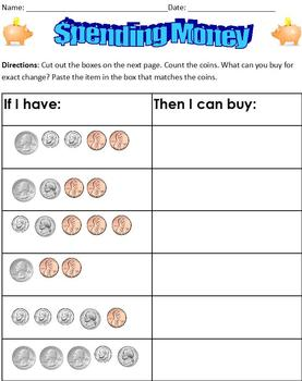 Spending Money; Special Ed Life Skills Math; Matching Coins to Prices