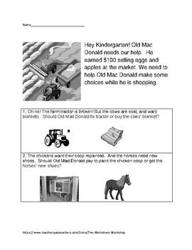 Spending Wisely Farm Worksheet