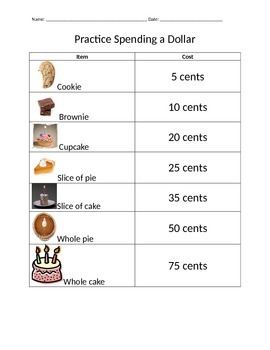 Spending a Dollar Practice 2
