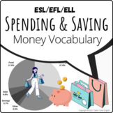 Spending and Saving: money and finance vocabulary pie char