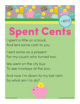 Spent Cents - ent Word Family Poem of the Week