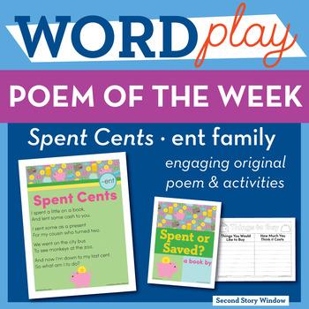 Spent Cents - ent Word Family Poem of the Week - Short E Fluency Poem