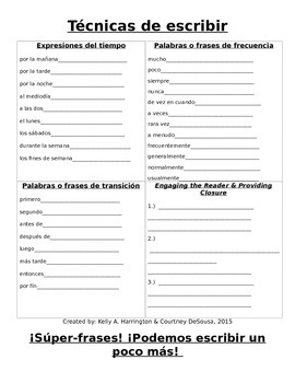 ¡Súper-frases! Spanish Writing Packet to Strengthen Students' Writing!