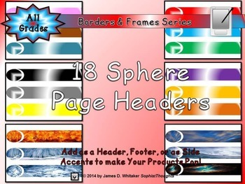Sphere End Page Headers Clip Art Bundle Frames, Borders, Edges