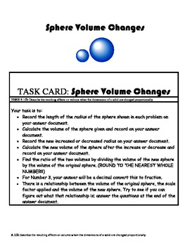 Sphere Volume Changes TEKS 8.10b