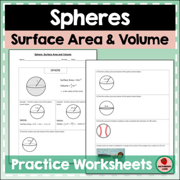 Spheres Surface Area and Volume Practice Geometry