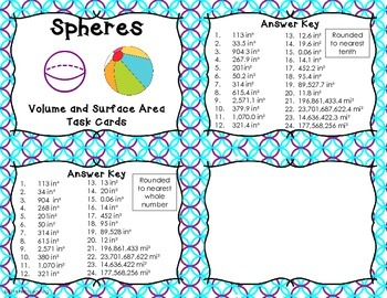 Spheres- Volume and Surface Area- 24 Task Cards
