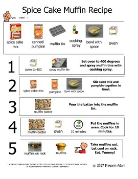 Spice Cake Muffin Recipe with Boardmaker Images