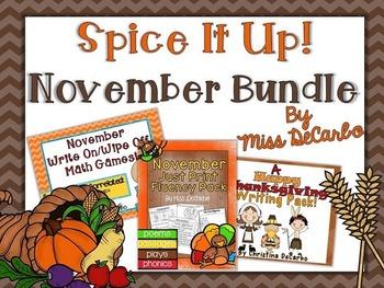Spice It Up November Bundle (Reading, Writing, and Math)